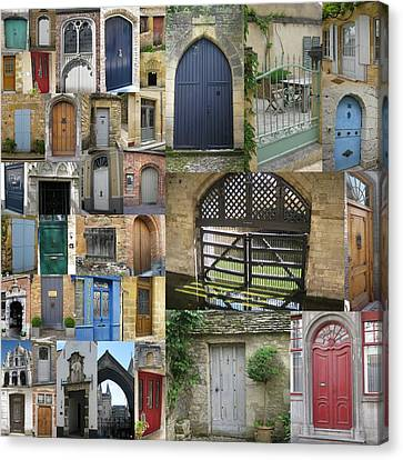 Collage Of Doors Canvas Print by Cathy Jacobs