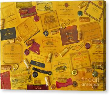 Collage Of Wine Bottle Labels And Corks Canvas Print by Anthony Morretta