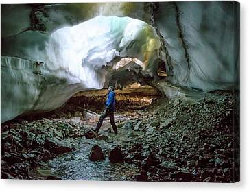 Collapsed Ceiling Of A Glacial Tunnel Canvas Print by Peter J. Raymond