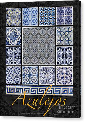 Collection Of Blue Colored Portuguese Tile-works Canvas Print