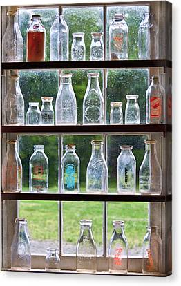 Collector - Bottles - Milk Bottles  Canvas Print by Mike Savad