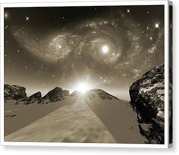 Colliding Galaxies Canvas Print by Detlev Van Ravenswaay