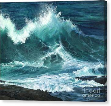Colliding Tides Canvas Print by Jeanette French