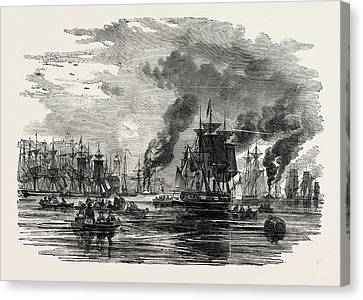 Colliers Leaving The Harbour, North Shields Canvas Print by English School