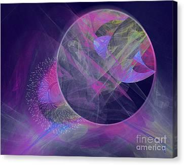 Canvas Print featuring the digital art Collision by Victoria Harrington