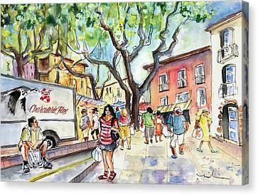 Collioure Market 01 Canvas Print by Miki De Goodaboom