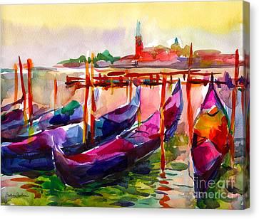 Coloful Venice Boats Painting Canvas Print by Svetlana Novikova