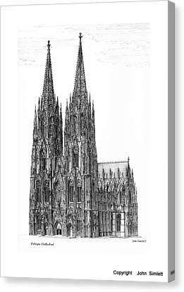 Gatepost Canvas Print - Cologne Cathedral by John Simlett