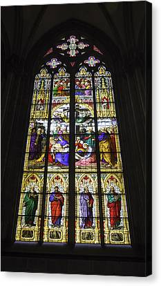 Cologne Cathedral Stained Glass Window Of The Lamentation Canvas Print by Teresa Mucha