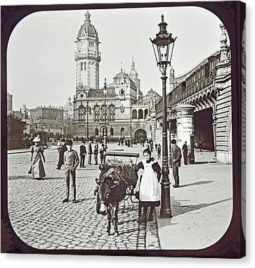 Canvas Print featuring the photograph Cologne Germany Street Scene 1903 Vintage Photograph by A Gurmankin