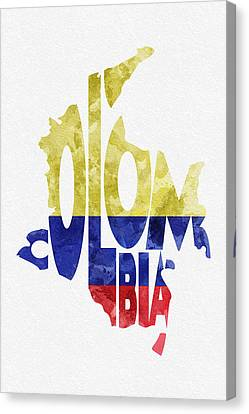 Colombia Typographic Map Flag Canvas Print
