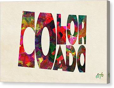 Colorado Typographic Watercolor Map Canvas Print by Ayse Deniz