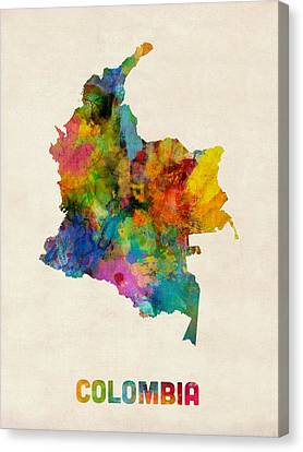 Colombia Watercolor Map Canvas Print by Michael Tompsett