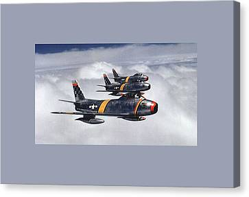 Colonel Ben O Davis Leads F 86 Sabres Over Korea Large Border Canvas Print by L Brown