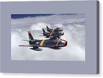 Colonel Ben O Davis Leads Flight F 86 Sabres Over Korea Medium Border Canvas Print by L Brown