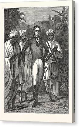 Colonel Mackenzie And The Brahmins Canvas Print by English School