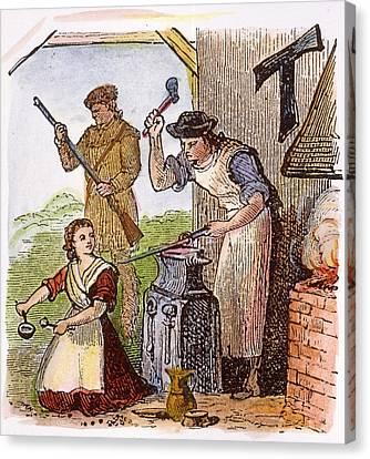 Colonial Blacksmith, 18th C Canvas Print by Granger