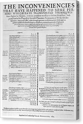 1622 Canvas Print - Colonial Document, 1622 by Granger