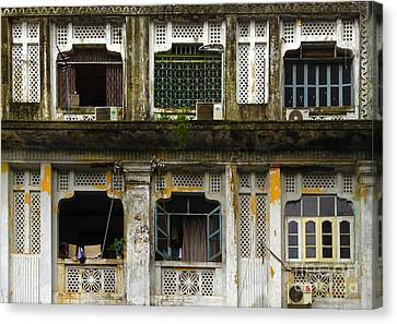 Colonial Facade Bo Soon Pat Street 8th Ward Central Yangon Burma Canvas Print by Ralph A  Ledergerber-Photography