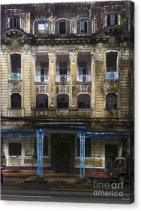Canvas Print featuring the photograph Colonial Facade Merchant Street 8th Ward Central Yangon Burma by Ralph A  Ledergerber-Photography