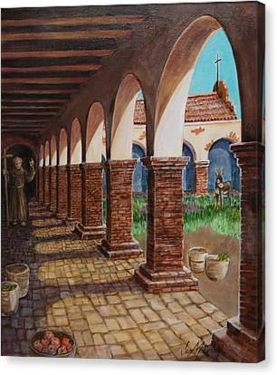 Colonnade And Father And Donkey  Canvas Print by Jan Mecklenburg