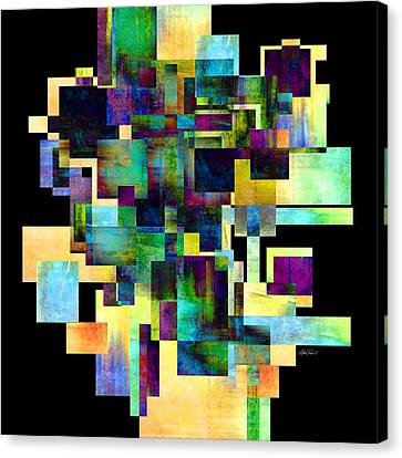Color Block On Black One Abstract - Art Canvas Print by Ann Powell