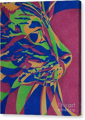 Canvas Print featuring the painting Color Cat I by Pamela Clements