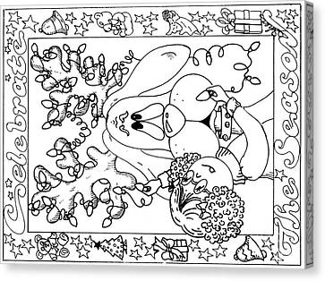 Color Me Card - Christmas Canvas Print