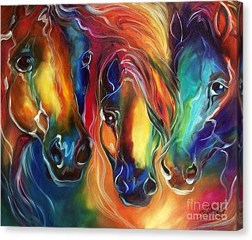 Abstract Equine Canvas Print - Color My World With Horses by Marcia Baldwin