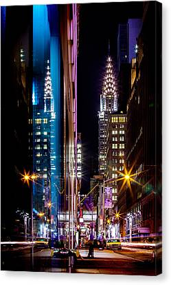 Late Canvas Print - Color Of Manhattan by Az Jackson