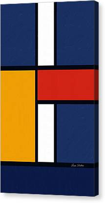Color Squares - Mondrian Inspired Canvas Print by Enzie Shahmiri
