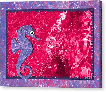 Color Your World Kids Bath Seahorse Canvas Print by Margaret Newcomb