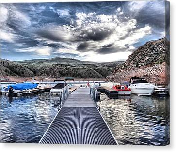 Boats In Water Canvas Print - Colorado Boating by Dan Sproul