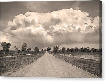 Colorado Country Road Stormin Sepia  Skies Canvas Print by James BO  Insogna