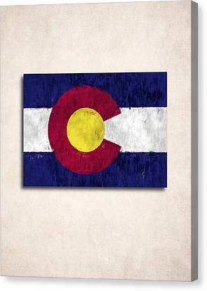 Colorado Map Art With Flag Design Canvas Print by World Art Prints And Designs