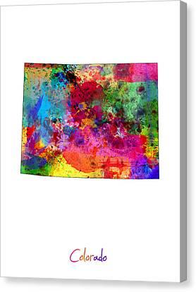 Colorado Map Canvas Print by Michael Tompsett