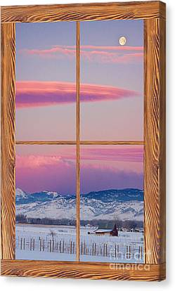 Colorado Moon Sunrise Barn Wood Picture Window View Canvas Print by James BO  Insogna