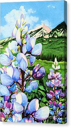 Canvas Print featuring the painting Colorado Summer Blues Close-up by Barbara Jewell