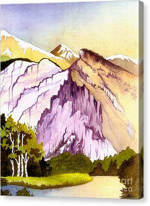 Canvas Print featuring the painting Colorado Mountains In Their Purple Majesty by Nan Wright