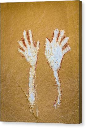 Colorado Pictograph Of Hands In Canyon Canvas Print