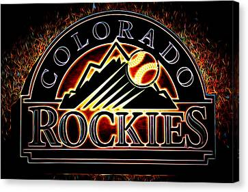 Colorado Rockies Logo Canvas Print by Stephen Stookey