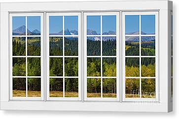 Colorado Rocky Mountains White Window Frame View Canvas Print