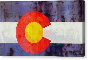 Colorado State Flag Weathered And Worn Canvas Print by Dan Sproul