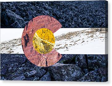 Colorado State Flag With Mountain Textures Canvas Print by Aaron Spong