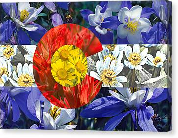 Colorado State Flag With Wildflower Textures Canvas Print by Aaron Spong