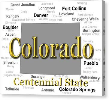 Colorado State Pride Map Silhouette  Canvas Print by Keith Webber Jr