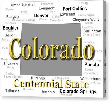 Colorado State Pride Map Silhouette  Canvas Print