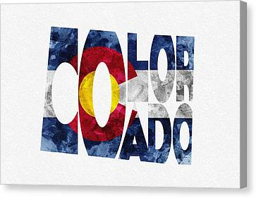 Colorado Typographic Map Flag Canvas Print by Ayse Deniz