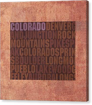 Colorado Word Art State Map On Canvas Canvas Print by Design Turnpike