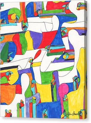 Colored Columns Canvas Print by Ellen Howell
